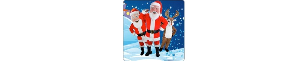 Santa Claus & Reindeer Costumes Mascot Running Figures Promotion Event