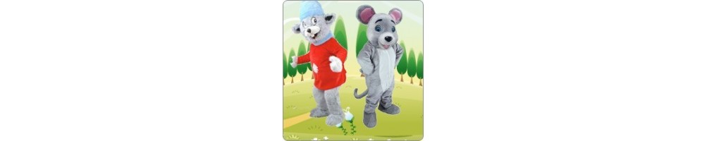 Mice (gray) Costumes Mascot Running Figures Promotion Event