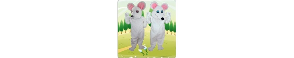 Mice (white) Costumes Mascot Running Figures Promotion Event