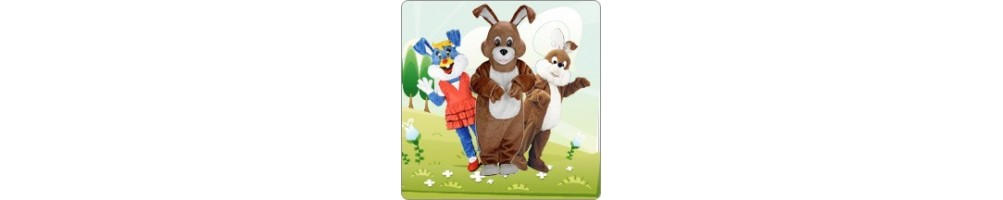 Bunnies Costumes Mascot Running Figures Promotion Event Show